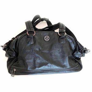 lululemon faux leather gym travel bag ruffle trim